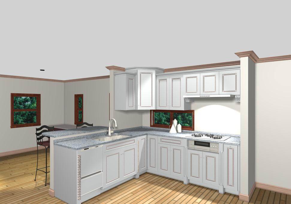 白を基調にグレーズ塗装した立体感と存在感あるキッチン