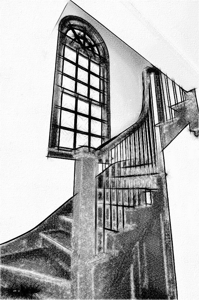 京都・駒井家住宅の吹き抜け階段<br />参考デッサン画像